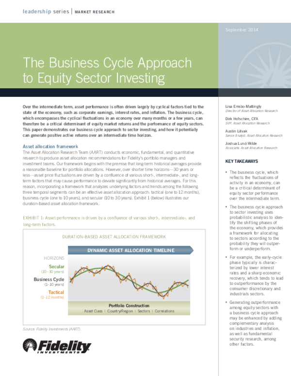PDF) The Business Cycle Approach to Equity Sector Investing