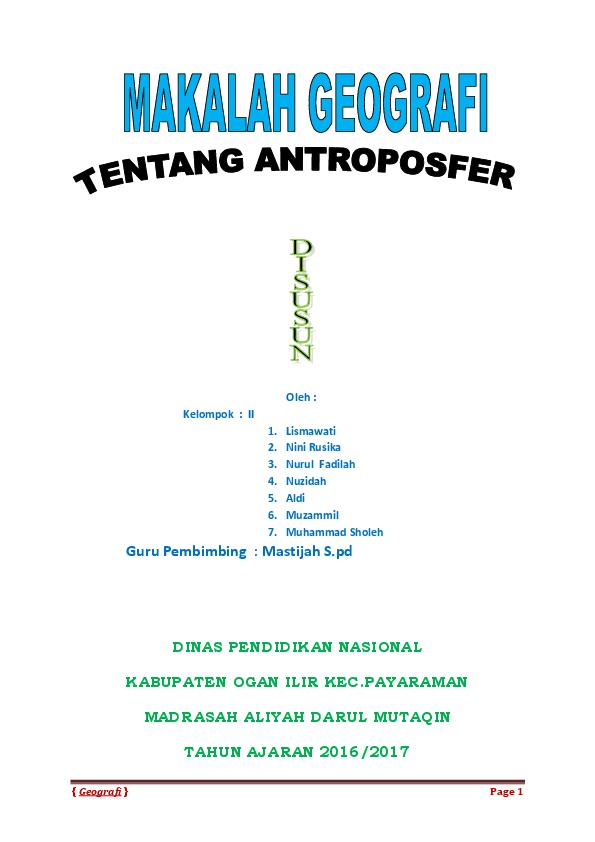 Pdf Makalah Geografi Tentang Antroposfer Dhiman Florhenza Academia Edu
