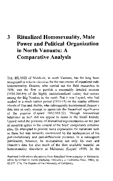 ritualized homosexuality