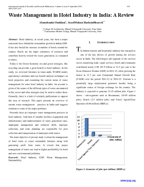 PDF) Waste Management in Hotel Industry in India: A Review