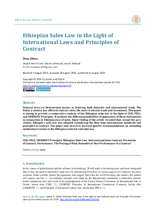 PDF) Ethiopian Sales Law in the Light of International Laws and