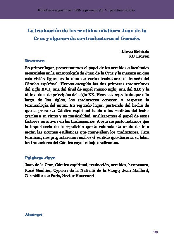 Pdf La Traducción De Los Sentidos Místicos Juan De La Cruz