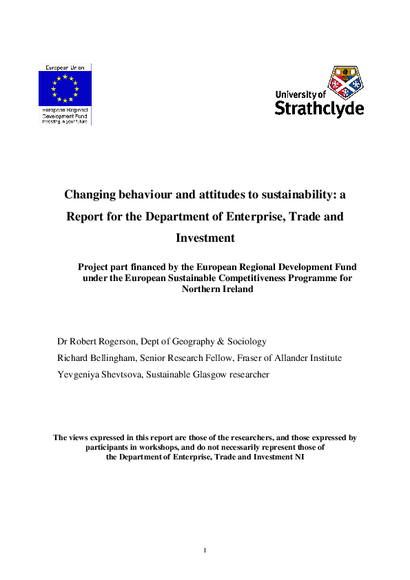 PDF) Changing behaviour and attitudes to sustainability: a