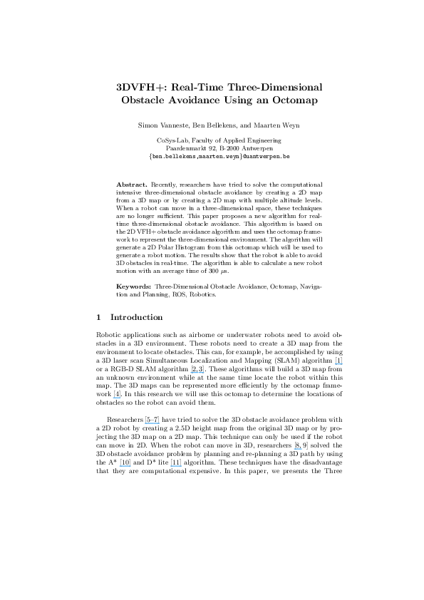 PDF) 3DVFH+: Real-Time Three-Dimensional Obstacle Avoidance Using an