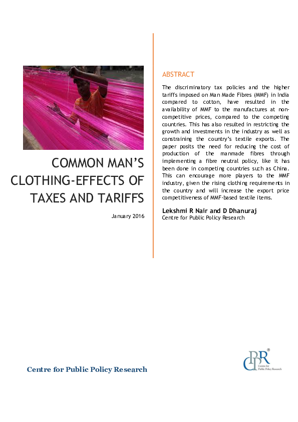 PDF) Common Man's Clothing – Effects of Taxes and Tariffs