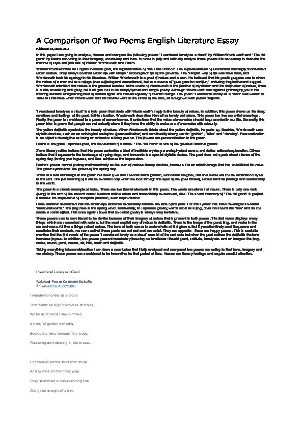 a comparison of two poems english literature essay  zha  docx