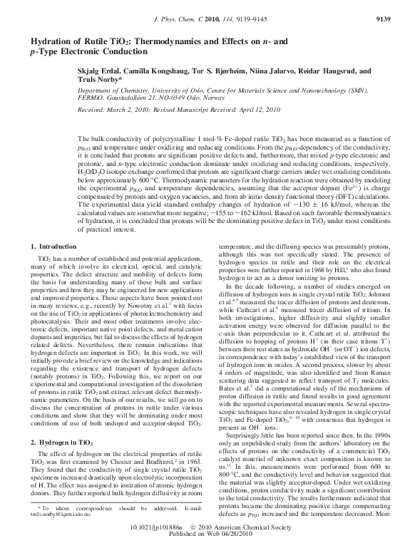PDF) Hydration of Rutile TiO 2 : Thermodynamics and Effects on n
