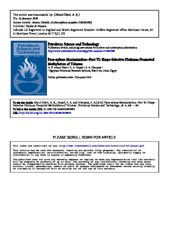 PDF) Para-xylene Maximization—Part VI: Shape-Selective Platinum