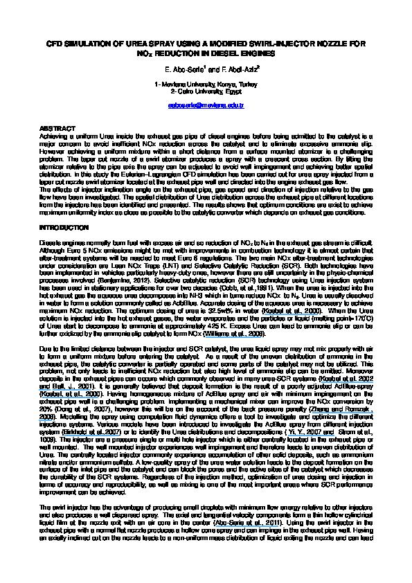 PDF) CFD Simulation of Urea Spray Using a Modified Swirl