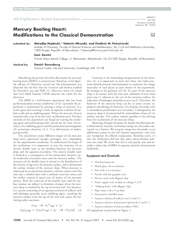 PDF) Mercury Beating Heart: Modifications to the Classical