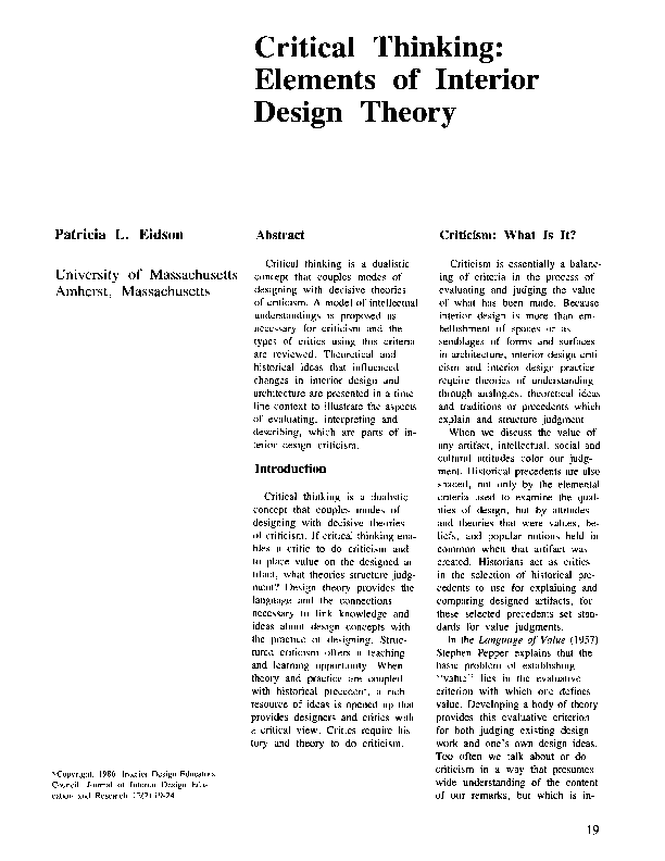 Pdf Critical Thinking Elements Of Interior Design Theory Varsha Bodani Academia Edu