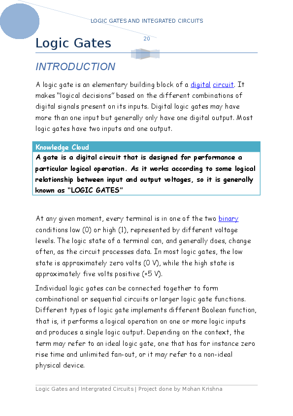 DOC) Physics project (theory) - Logic gates (Class 12)- CBSE | Mohan