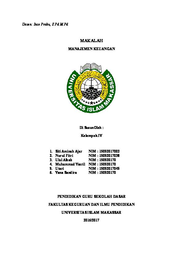 Doc Makalah Manajemen Keuangan Docx Nona Ajar Academia Edu