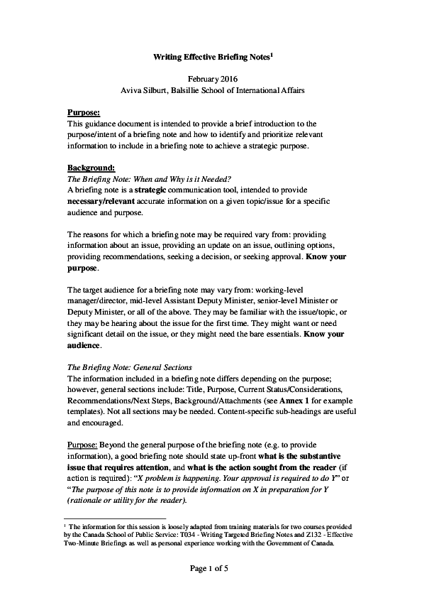 9+ Briefing Note Examples - PDF | Examples