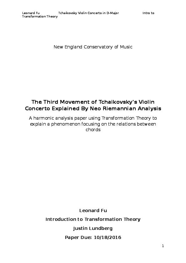 DOC) Tchaikovsky Violin Concerto, 3rd Mvmt  - Neo-Riemannian