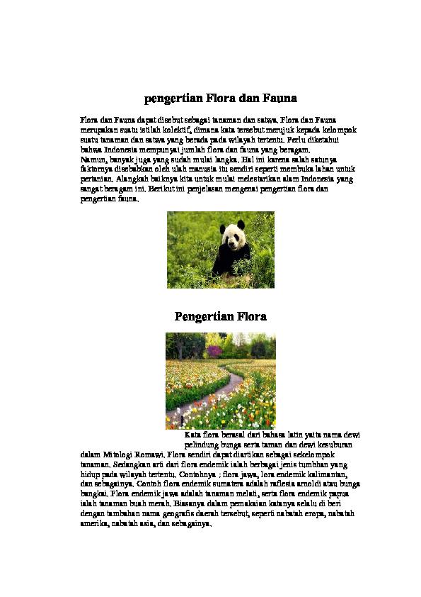 Pengertian Flora Dan Fauna Lala Brigida Academia Edu