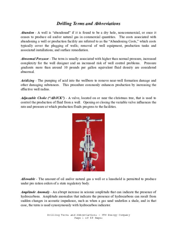 Pdf Drilling Terms And Abbreviations Jefe De Division Hse Gral