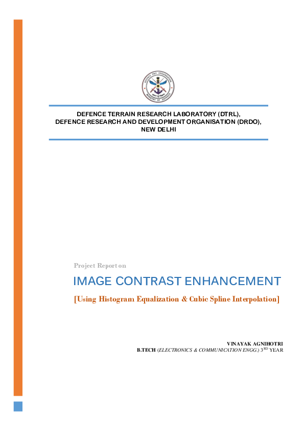 PDF) Report on IMAGE CONTRAST ENHANCEMENT using Histogram