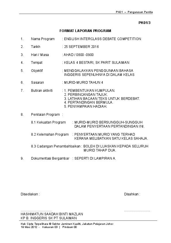Doc Pk01 3 Format Laporan Program Sk Parit Sulaiman Academia Edu