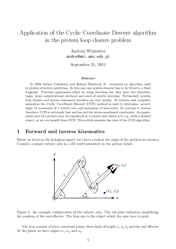 PDF) Application of the Cyclic Coordinate Descent algorithm