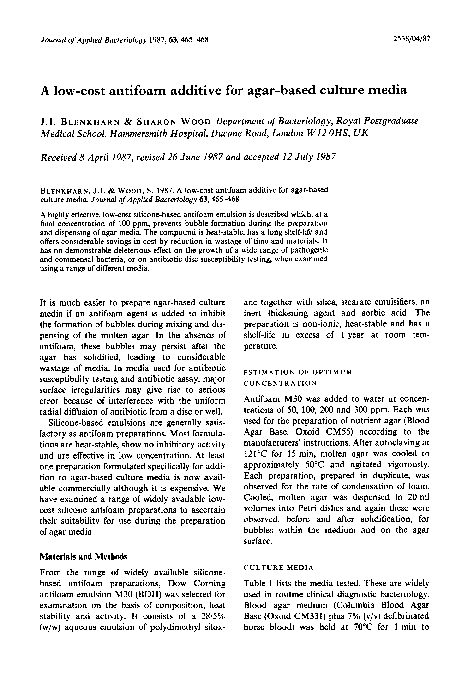 PDF) A low-cost antifoam additive for agar-based culture