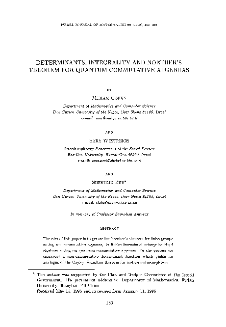 PDF) Determinants, integrality and Noether's theorem for