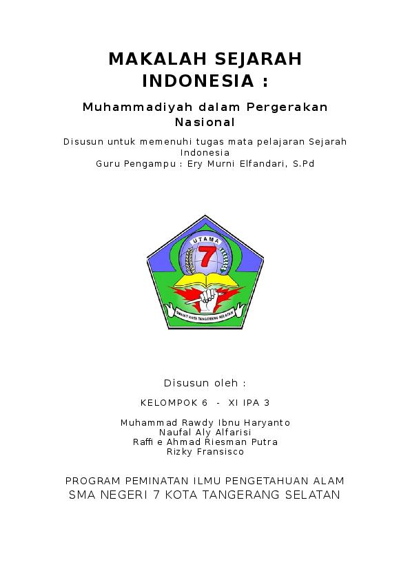 Doc Makalah Sejarah Indonesia Muhammadiyah Dalam Pergerakan Nasional Raffie Ahmad Riesman Putra Academia Edu