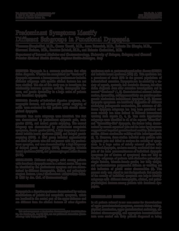 PDF) Predominant symptoms identify different subgroups in