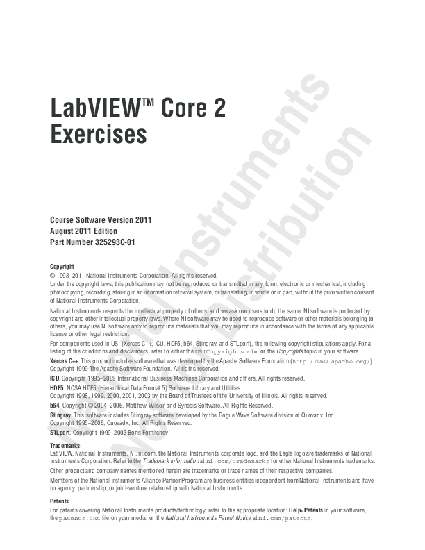 PDF) LabVIEW TM Core 2 Exercises Course Software Version 2011 August
