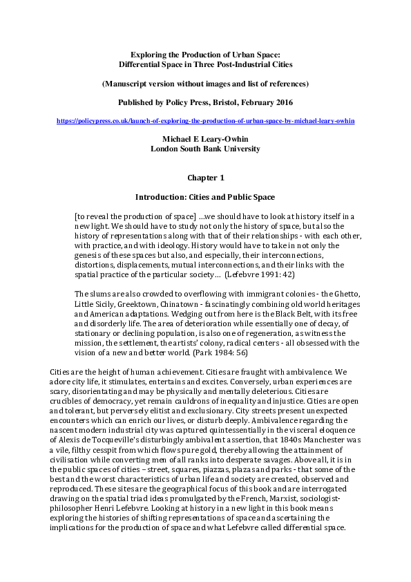 Pdf Chapter 1 From Exploring The Production Of Urban Space Differential Space In Three Post Industrial Cities Manuscript Version Without Images And List Of References Michael Edema Leary Owhin Academia Edu