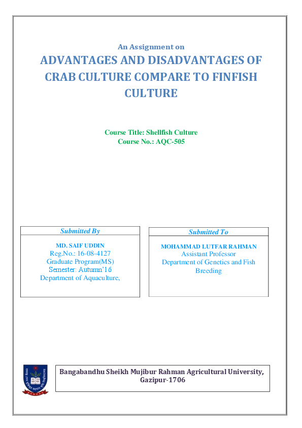 PDF) ADVANTAGES AND DISADVANTAGES OF CRAB CULTURE COMPARE TO