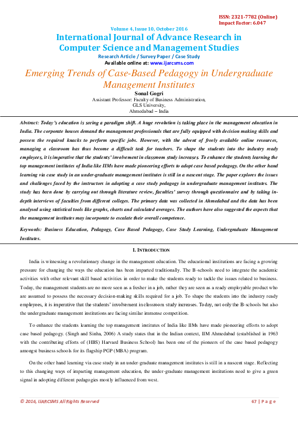 PDF) Emerging Trends of Case-Based Pedagogy in Undergraduate