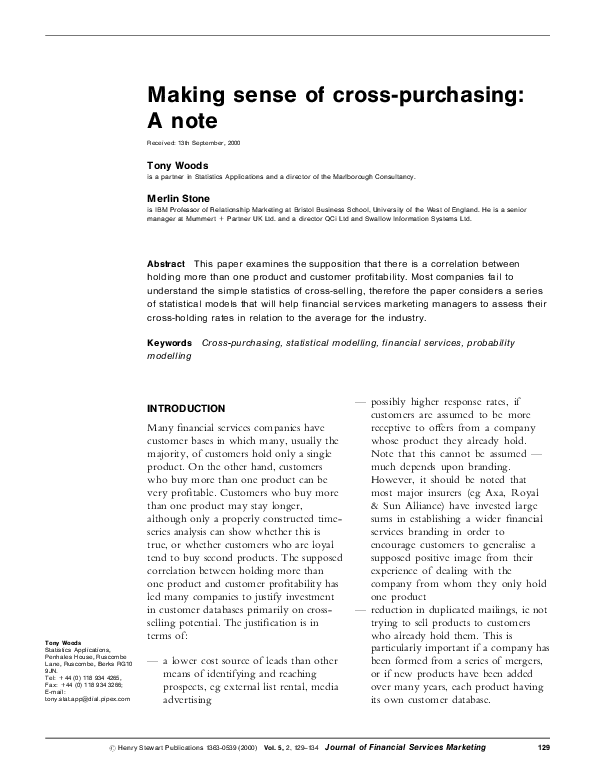 PDF) Making sense of cross-purchasing: A note | Merlin Stone