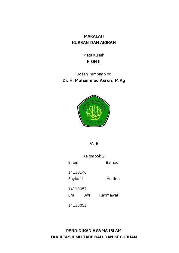Makalah Fiqih Tentang Qurban Dan Aqiqah Contoh Makalah