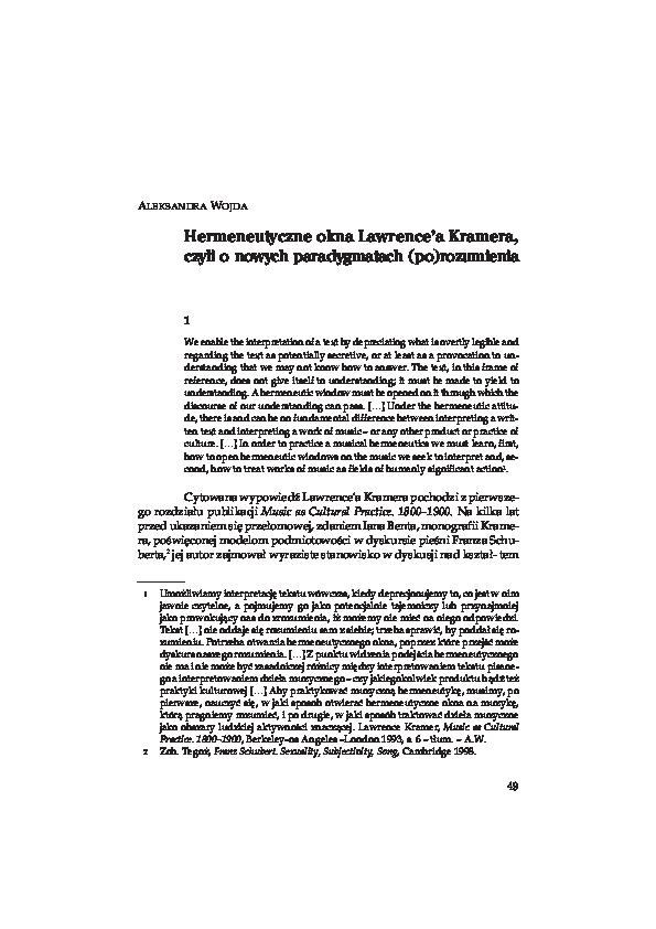 Pdf Hermeneutyczne Okna Lawrencea Kramera Czyli O Nowych