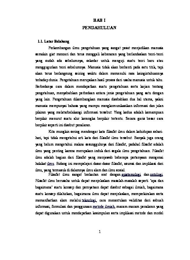 Doc Pengertian Dan Ruang Lingkup Filsafat Ilmu Hardy S Ip S T Academia Edu