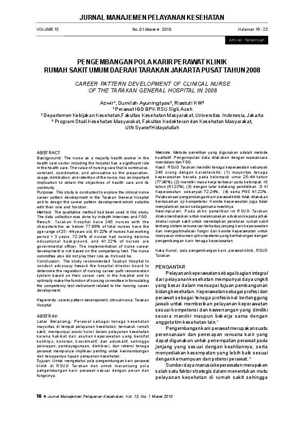Pdf Pengembangan Pola Karir Perawat Klinik Rumah Sakit Umum Daerah Tarakan Jakarta Pusat Tahun 2008 Career Pattern Development Of Clinical Nurse Of The Tarakan General Hospital In 2008 Ismun Tania Academia Edu