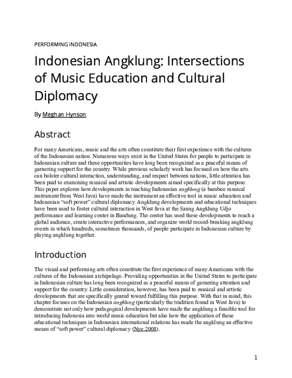 Doc Indonesian Angklung Intersections Of Music Education And Cultural Diplomacy Meghan Hynson Academia Edu