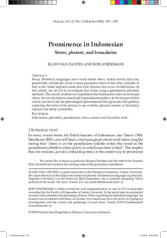 PDF) Ellen van Zanten, Rob Goedemans - Prominence in