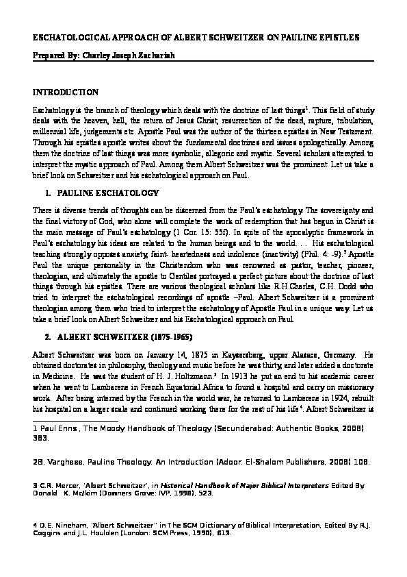 DOC) Eschatological approach of Albert Schweitzer on Pauline