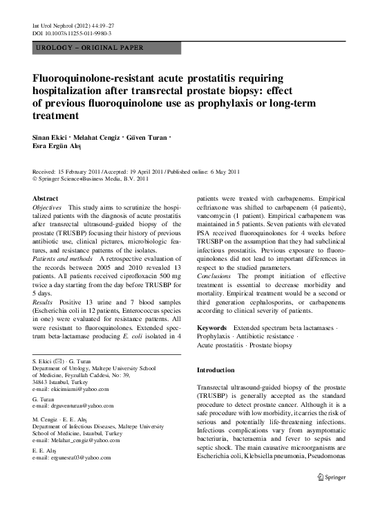 amox-clav e. Prostatitis fecal