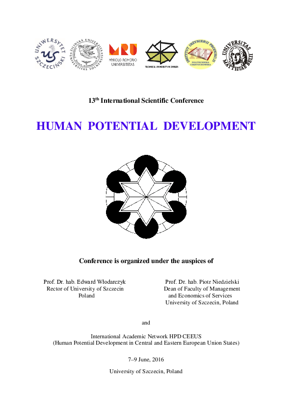 Pdf 13th International Scientific Conference Human Potential