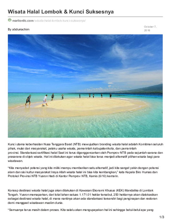 Marlionllc Com Wisata Halal Lombok Kunci Suksesnya Pdf