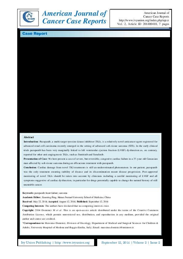 PDF) Pazopanib-Induced Heart Failure in a Metastatic Sarcoma Patient