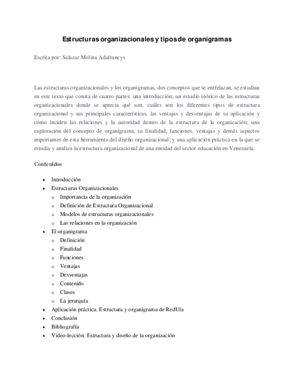 Pdf Estructuras Organizacionales Y Tipos De Organigramas