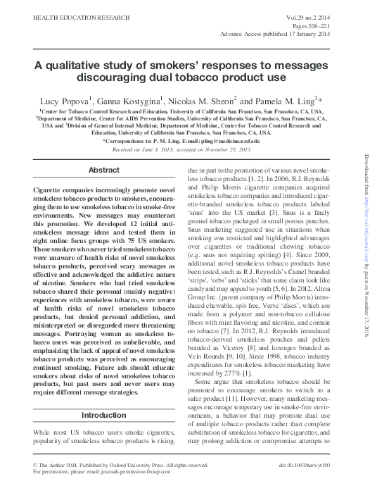 PDF) A qualitative study of smokers' responses to messages