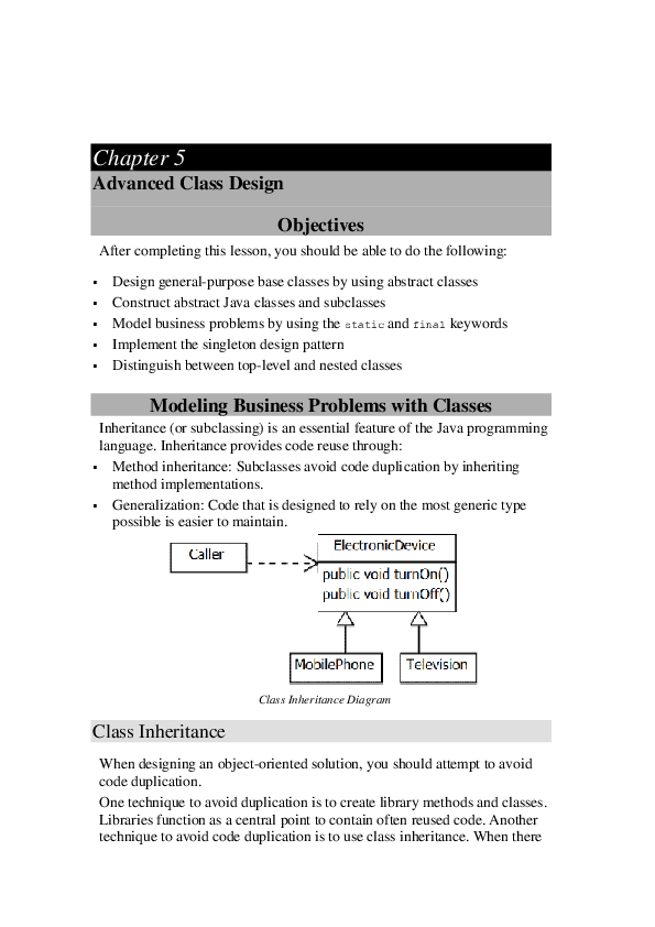 PDF) Advanced Class Design Modeling Business Problems with
