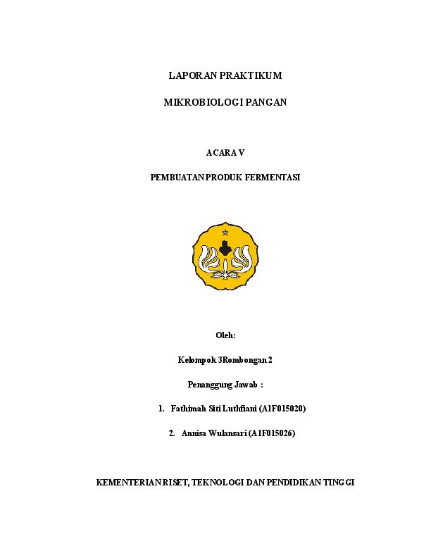 Doc Laporan Mikrobiologi Pangan Pembuatan Produk Fermentasi Docx Annisa Wulansari Academia Edu