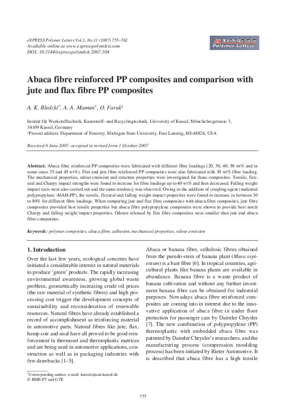 PDF) Abaca fibre reinforced PP composites and comparison