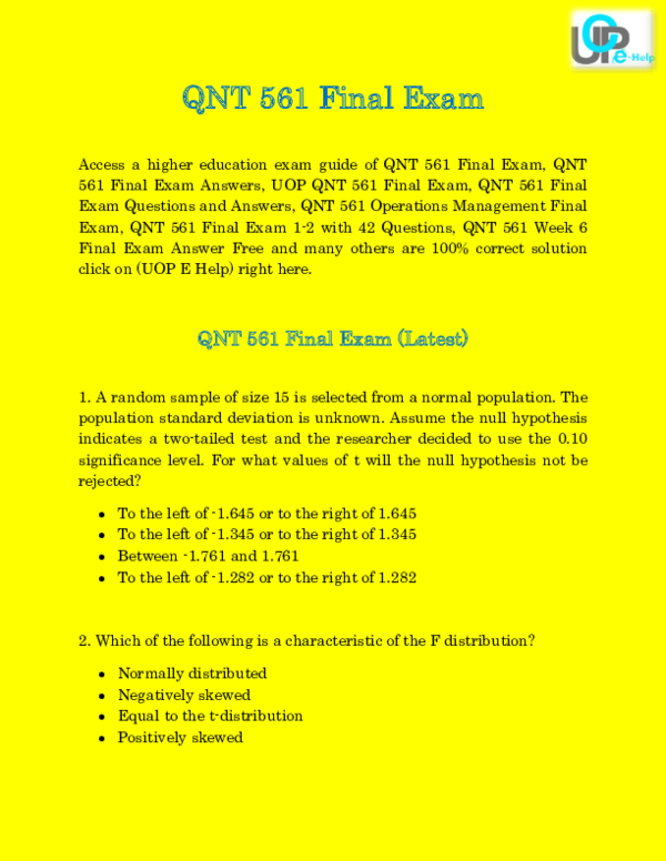 PDF) QNT 561 Final Exam 30 Questions & Answers 2015 @ Uopehelp
